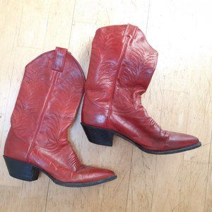 Red leather Justin cowboy boots